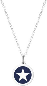 """Mini Star Pendant Necklace in Sterling Silver and Enamel, 16"""" + 2"""" Extender"""