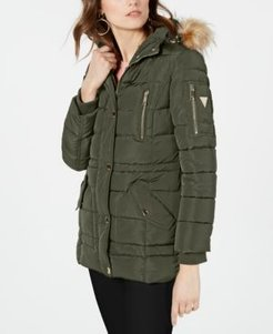 Hooded Faux-Fur-Trim Puffer Coat, Created for Macy's