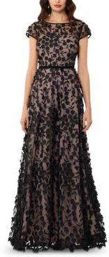 3D Embroidered Floral Gown