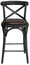 Havey Industrial Metal Barstool in Brushed with Fabric Seat