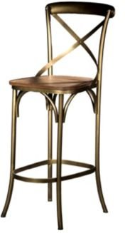 Villa 2 X Back Solid Iron Wood Armless Barstool with Footrest