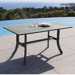 Renaissance Outdoor Patio Hand-Scraped Wood Rectangular Dining Table with Curvy Legs