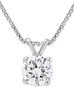 "Lab Grown Diamond Solitaire 18"" Pendant Necklace (1-1/2 ct. t.w.) in 14k White Gold"