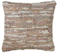 """Cotton and Leather Chindi Design Throw Pillow, 20"""" x 20"""""""
