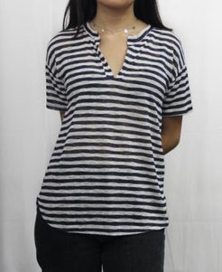 1804 Womens Stripe Short Sleeve Henley T-Shirt
