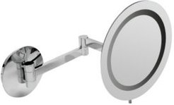 Polished Chrome Wall Mount Round 5x Magnifying Cosmetic Mirror with Light Bedding