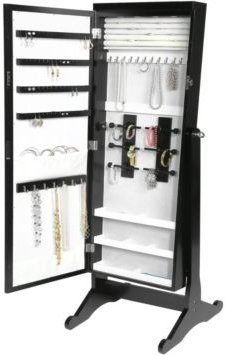 Jewelry Armoire With Led, Free Standing Cabinet, Full Length Mirror