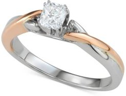 Diamond Cushion Two-Tone Engagement Ring (3/8 ct. t.w.) in 14k White & Rose Gold