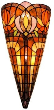 Tiffany Style 2-Light Wall Crowned Sconce