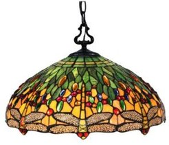 Tiffany Style 2-Light Dragonfly Hanging Lamp