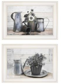 "Floral with Tin Ware 2-Piece Vignette by Robin-Lee Vieira, White Frame, 21"" x 15"""