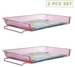 2 Piece Stackable Letter Tray Desk Organizer