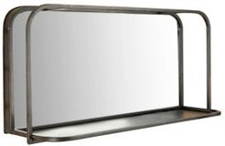 Rectangle Accent Mirror with Metal Frame Shelf