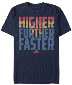 Captain Marvel Higher Further Faster Quote, Short Sleeve T-shirt