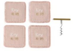 """""""Rose All Day"""" Coasters and Corkscrew Gift Set"""