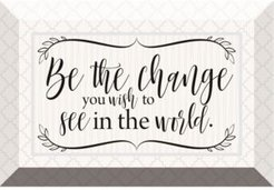 """be the Change Glass Plaque with Easel, 6"""" x 4"""""""