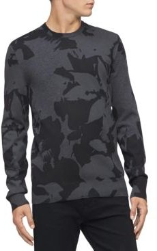 Regular-Fit Textured Floral Jacquard Sweater