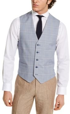 Modern-Fit Th Flex Blue and Red Plaid Vest