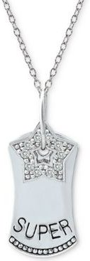 """Cubic Zirconia """"Superstar"""" Dog Tag 18"""" Pendant Necklace in Sterling Silver"""
