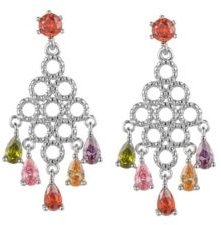 Silver-Tone Multicolor Chandelier Earrings