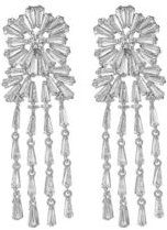 Silver-Tone Flower Chandelier Earrings