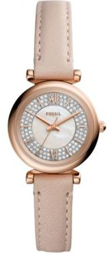 Carlie Mini Blush Leather Strap Watch 28mm
