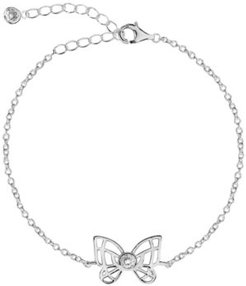 Bodifine Cubic Zirconia Butterfly Sterling Silver-Tone Anklet