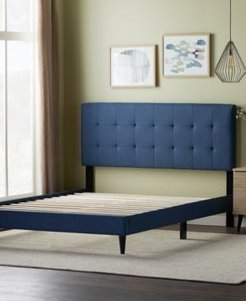 by Lucid Upholstered Platform Bed Frame with Square Tufted Headboard, California King