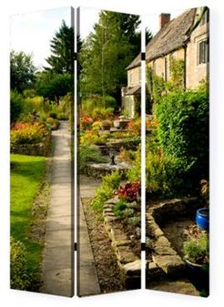Double sided with different Design 3 Panel 6' English Garden Screen