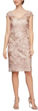 Sequinned Lace Sheath Dress