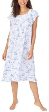 Floral-Print Pointelle Waltz Nightgown