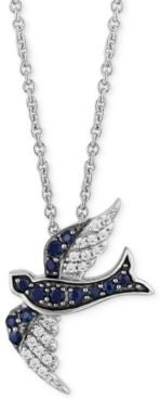"""Enchanted Disney Sapphire (1/5 ct. t.w.) & Diamond (1/10 ct. t.w.) Cinderella Bird Pendant Necklace in Sterling Silver, 16"""" + 2"""" extender"""