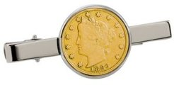 Gold-Layered 1800's Liberty Nickel Coin Tie Clip