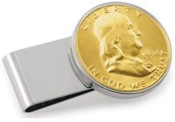 Gold-Layered Silver Franklin Half Dollar Stainless Steel Coin Money Clip