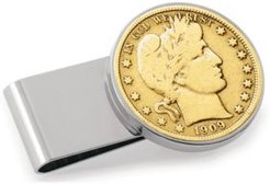 Gold-Layered Silver Barber Half Dollar Stainless Steel Coin Money Clip