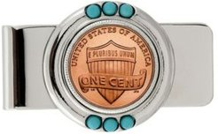 Lincoln Union Shield Penny Turquoise Coin Money Clip
