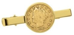 Gold-Layered Liberty Nickel Coin Tie Clip