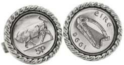 Irish Bull 5 Pence Coin Cuff Links