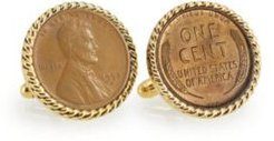 Lincoln Wheat-Ear Penny Cuff Rope Bezel Coin Cuff Links