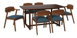 Millie 7 Piece Mid Century Modern Rectangular Cherry Finish Wood Dining Table and Arm Chairs