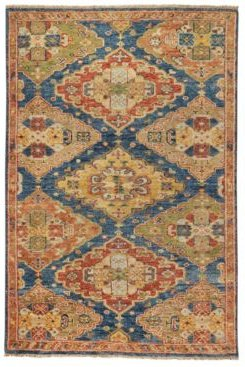 Charise-Kazak 455 Blue and Multi 3' x 5' Area Rug