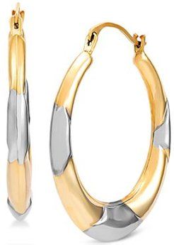 Polished Two-Tone Hoop Earrings in 14k Gold & White Rhodium-Plate