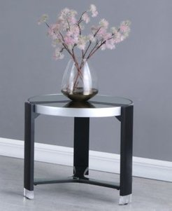Round Lamp Table with Mirror Top
