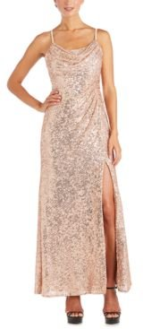 Sequinned Cowlneck Gown