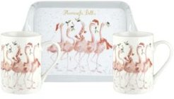 Closeout! Wrendale Designs 3 Piece Mug and Tray Set - Flamingle Bells