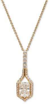 """Silver-Tone Cubic Zirconia & Stone Framed Pendant Necklace, 16"""" + 1"""" extender, Created for Macy's"""