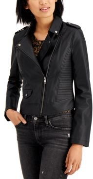 Juniors' Faux-Leather Moto Jacket, Created for Macy's