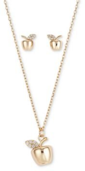 Fine Silver Plated 2-Pc. Set Cubic Zirconia Apple Pendant Necklace & Matching Stud Earrings in Gold