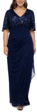 Plus Size Sequined A-Line Gown