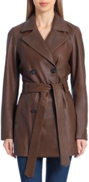 Double-Breasted Leather Trench Coat